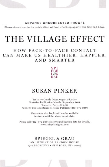 Cover of The Village Effect - Advanced reader copy
