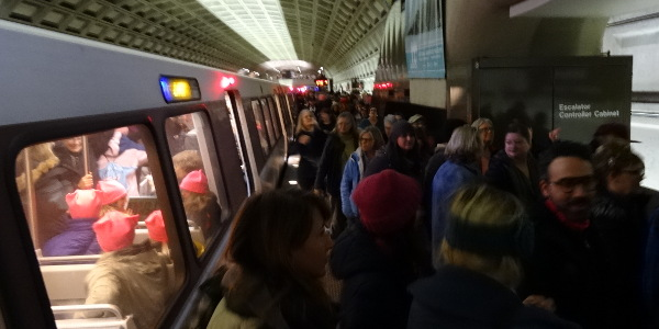 pink beanies swarm the Washington Metro