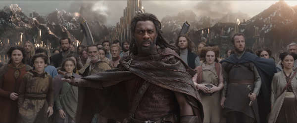 Heimdall leads the Asgardians on the Rainbow Bridge